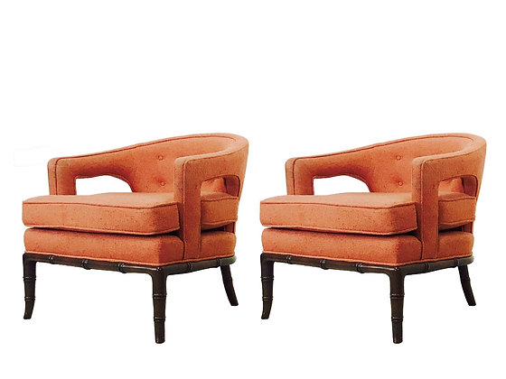 #3164 Pair Cut Out Armchairs in Orange Fabric