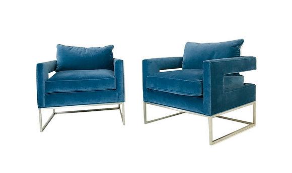 #4643 Pair Blue Velvet & Chrome Armchairs