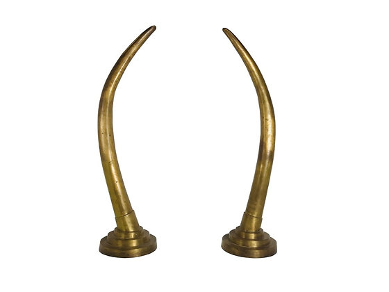 #3662 Pair Tall Dramatic Brass Tusks Sculptures