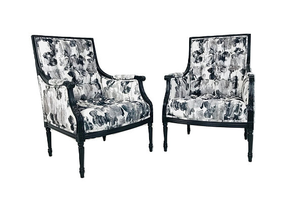 #5066 Pair Watercolor Armchairs (3 Pair Available)