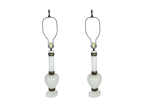 #8687 Pair White Marble Stiffel Lamps