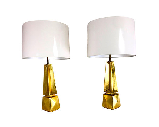 #5401 Pair of Gold Obelisk Lamps