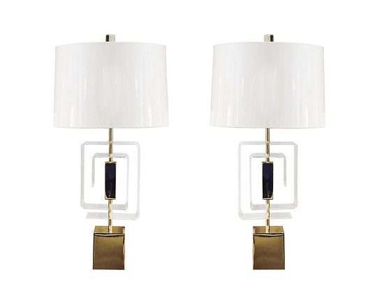 #2261 Pr Laurel Lamps with Lucite Geometric Design
