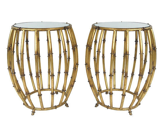#4709 Pair of Brass Faux Bamboo Drum Side Tables with Mirrored Tops