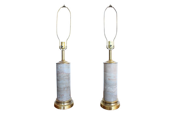 #1148 Pair Marble Lamps