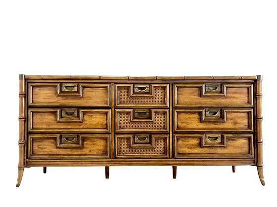#4132 Faux Bamboo Nine Drawer Dresser by Stanley