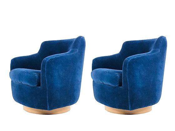 #3488 Pair Blue Velvet Blue Swivel Chairs by Milo Baughman