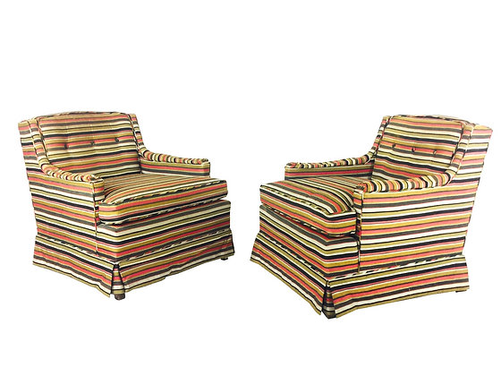 #2232 Pair Red & Yellow Regency Stripe Chairs