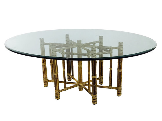 #2893 Oval Bamboo Dining Table with Leather Straps by McGuire