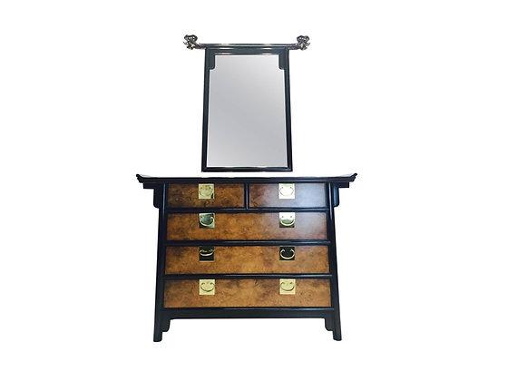 #1269 Asian Style Century Burl Cabinet & Mirror