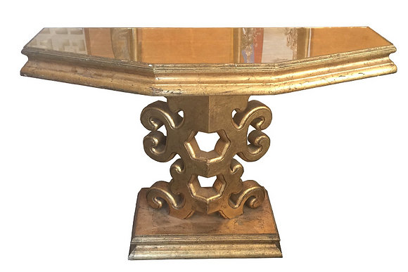 #1502 Hollywood Regency Gilded Console Table