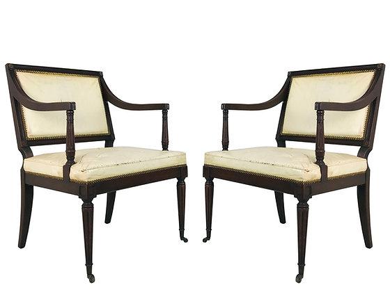 #4486 Pair of Regency White Vinyl Chairs