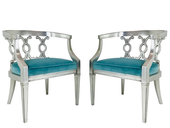 #3815 Pr Silver Leaf Barrel Back Chairs with Turquoise Velvet (2 Sets Available)