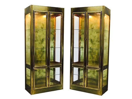 #3406 Pair of Brass Mastercraft Vitrines with Glass Shelving