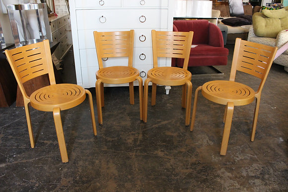 #970 Set of 4 Stackable Danish Chairs by Magnus