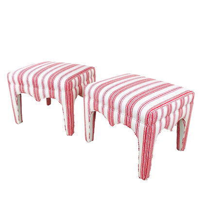 #5418 Pair of Red & White Stools