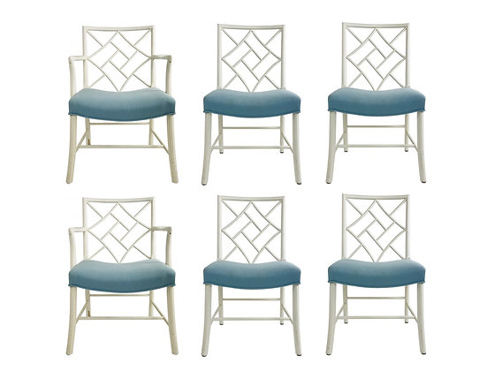 #3686 Set of Six Chippendale Cockpen Dining Chairs