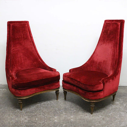 #8204 Pair Tall Regency Red Chairs
