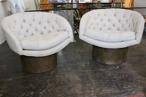 #1037 Pair Milo Baughman Style Bucket Chairs