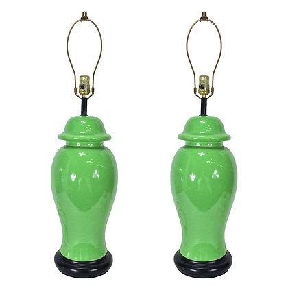 #6147 Pair Green Urn Lamps