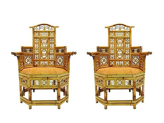 #2123 Pair Bamboo Chinoiserie Armchairs (1 Available)