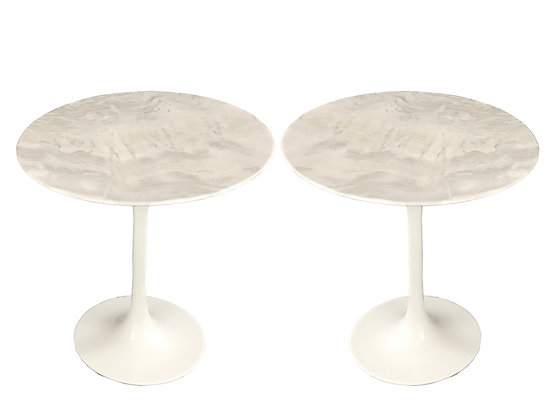 #3814 Pair of Marble Top Tulip Side Tables