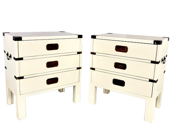 #4094 Pair of Petite Campaign Nightstands