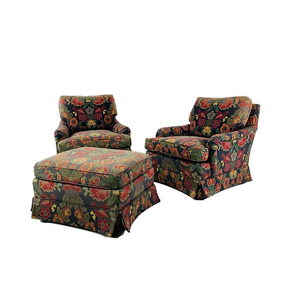 #5486 Pair of Baker Lounge Chairs with Ottoman