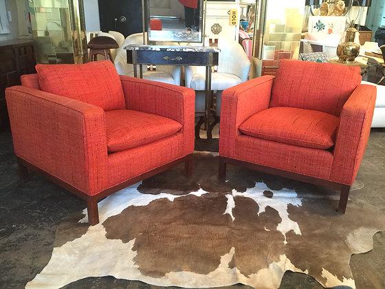 #1326 Pair Orange Tweed Cube Club Chairs