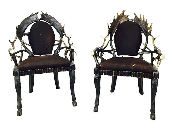 #2172 Pr Vintage Antler Chairs by Anthony Redmile