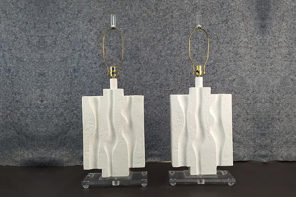 #1659 Pair Brutalist Lamps with Lucite Base