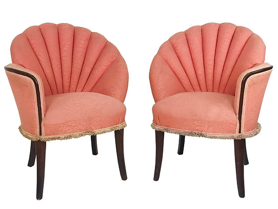 #3991 Pair of Opposing Deco Channel Back Chairs