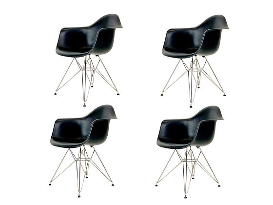 #4143 Set of Four Molded Eames Dining Chairs