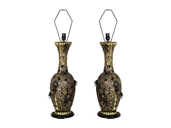 #3458 Pair of Brutalist Lamps