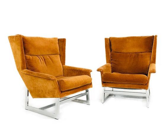 #4409 Pr MCM Adrian Pearsall Angular Wingback Chairs