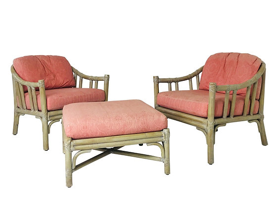 #3551 Pair McGuire Chairs and Ottoman
