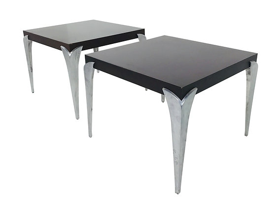 #3697 Pair of Side Tables with Chrome Legs