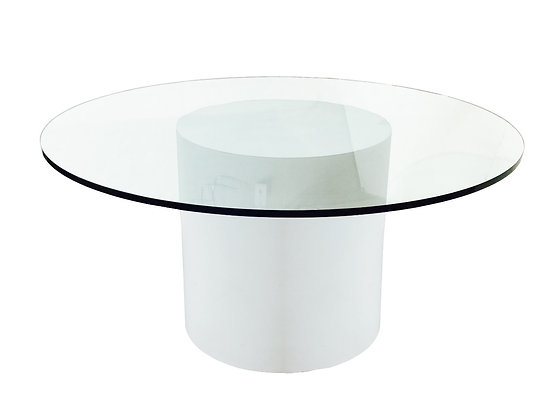 #2576 Round White Laminate Dining Table w/Glass To