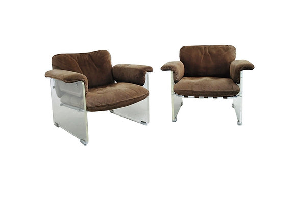 #4924 Pair of Pace Chairs with Lucite Arms