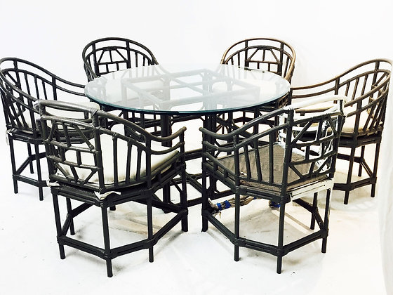 #1947 Set of 6 Gray Bamboo Chairs and Table Set