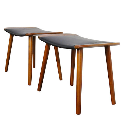 7686 Pair Danish Leather Benches