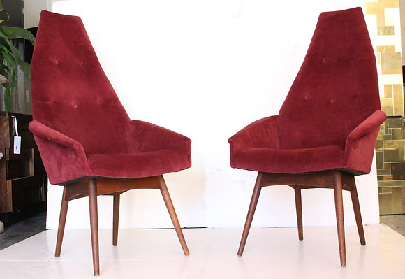 #1358 Pair Adrian Pearsall High Back Chairs