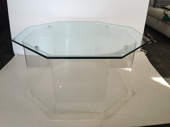 #1322 Octagonal Lucite Coffee Table (2 available)