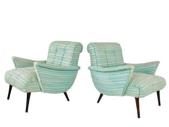 #3807 MCM Seafoam Lounge Armchairs