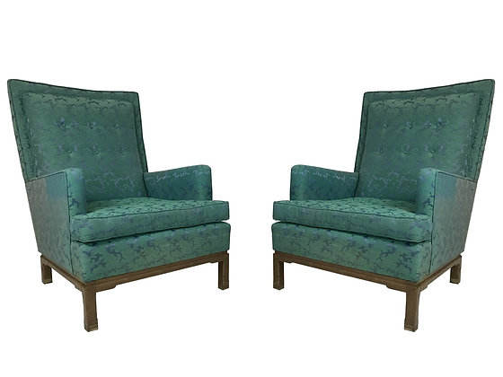 #3328 Pair of Blue-Green  Lounge Chairs