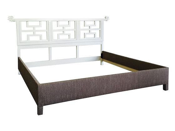 #2209 Asian Lacquered King Headboard & Rails