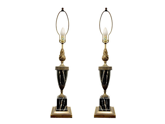#4101 Pair Faux Marble & Brass Flame Lamps by Stiffel