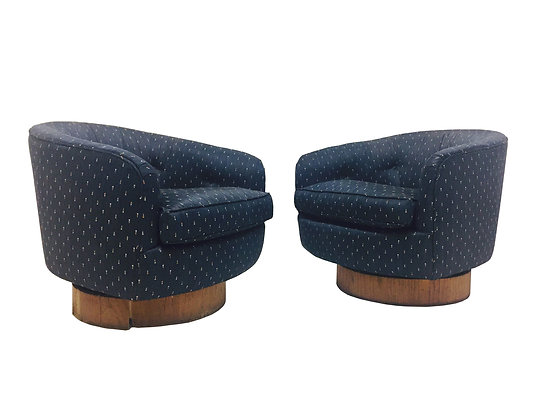 #2479 Pair Milo Baughman Navy Swivel Chairs