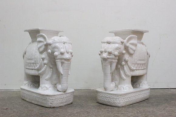 738 Pair Elephant Garden Stools