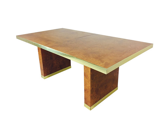 #2339 Pierre Cardin Burl & Brass Dining Table